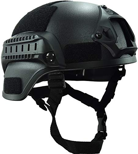 haoYK MICH 2000 Style Tactical Airsoft Paintball Casco con supporto NVG e guida laterale per Airsoft Paintball, nero