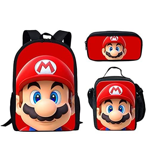 LIANGJI Mario School Bag Cartoon Super Mario patrón de gran capacidad 3 piezas conjunto mochila para niños personalizado estudiante respaldado bolsas escolares