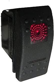 Carling Rocker Switch - ON-OFF-ON Red - V6D1, Contura II, SPDT, 4 terminals, sealed, waterproof, dustproof, 12V dc