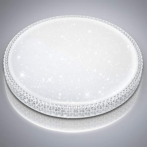 Hengda LED Deckenleuchte mit Sternenhimmel Dekor 50W Kaltweiss/Helle Schlafzimmerlampe Flimmerfrei Deckenlampe für Wohnzimmer Büro Küche/ Φ50cm, 6000K