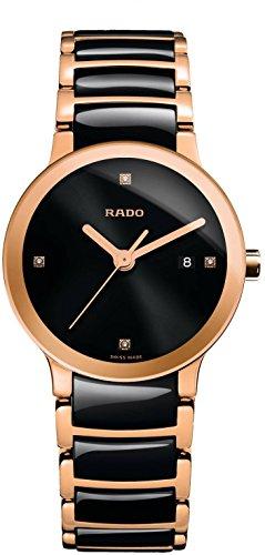 Reloj Rado Centrix para mujer, en cerámica negra, dorado y diamantes, R30555712.