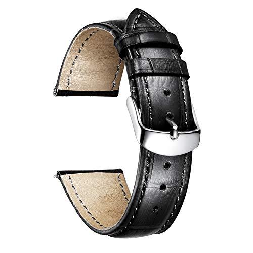 BINLUN Correa de Reloj de Piel de Repuesto Becerro Genuina con Patrón de Cocodrilo en 10 Colores y 13 Tamaños Hombres y Mujeres(12mm-24mm)