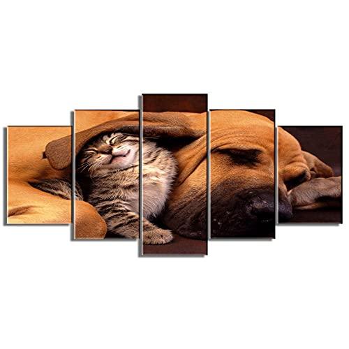 YXCLJY ImpresionessobreLienzo Cesta de 5 Piezas para decoración de Pared Moderna para Dormitorio, Perro y Gato