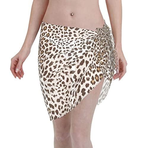 marat Women's Wrap Skirt Boutique Leopard Animal Print Wallpaper White and Brown Tie Up Waist Swimsuit Cover Ups Sarong Swimwear Beach Summer Shawl 55.1 X 18.6 Inch