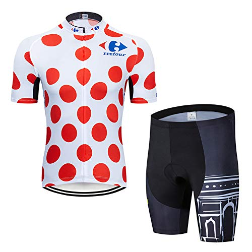 Herren Radfahren Anzüge Kurz Ärmel Reflektierend Radfahren Jersey Hemd + 20D Gepolstert Reiten Strumpfhose Schnelltrocknend Radfahren Kleidung Einstellen zum Draussen Sport Radfahren,d,M