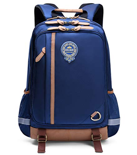 Kids Backpack for School Waterproof Lightweight Bookbag for Children Elementary School Bags for Boys (Dark blue)