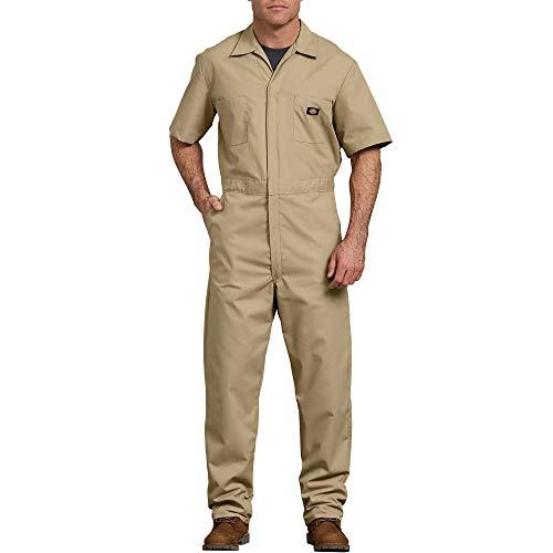 Dickies Men's Short Sleeve Coverall, Khaki, Medium Regular