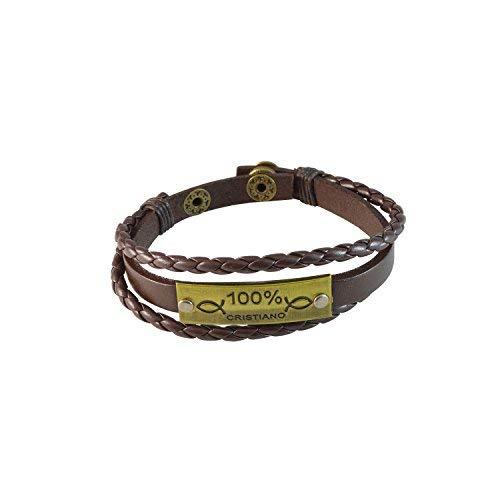 Sataanreaper Presents Multistrato Brown Ecopelle 100% Cristiano Simbolo Fascino Braccialetto Registrabile, Unisex #Sr-2595