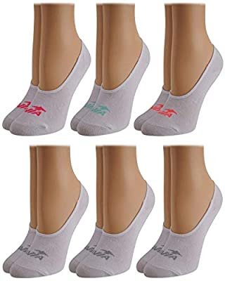 Avia Woman's No Show Athletic Performance Stretch Sport Liner Socks With Non-Slip Grip (6 Pack), Size Shoe Size: 4-10, Solid White