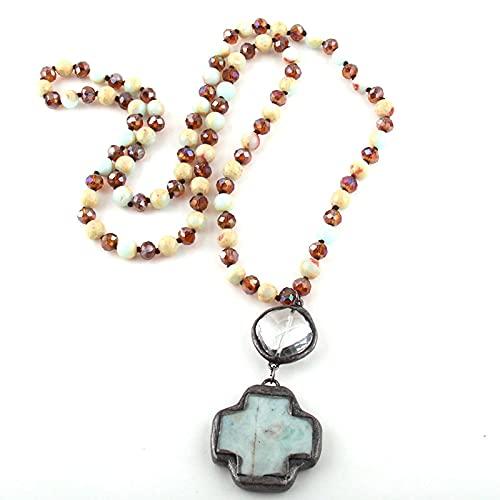 Joyas De Moda Piedras Y Cristal Cruz Larga Collares Pendientes Collar De Mujer