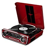 ION Audio レコードプレーヤー 1965年製フォード マスタング デザイン 4種再生可能【レコード、ラジオ、USB、外部入力】 Mustang LP レッド