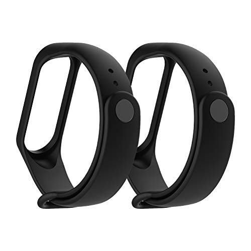 MiPhee 2-Pack Silicone Bands for Mi Band 4/ 3 Xiaomi Smartwatch Replacement Strap, Black