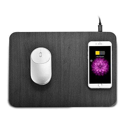 iPhone X/XS/XR/XS Max /8 Plus /8 Samsung S7 /S8 /S9/S9+/Note 8 ワイヤレス充電マウスパッド Qi対応機種 無線充電器 + マウスパッドの合体 おしゃれ 多機能マウスパッド 便利なマウスパッド一体型 光学式マウス対応パット デスクトップは非常にきれいです(ブラック)