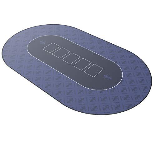 CSL – Alfombrilla de póker de 1000 x 600 - Alfombra de póker - Formato XXL - Tapete de Poker - Propia Mesa de póker – Antideslizante – Lavable - Azul