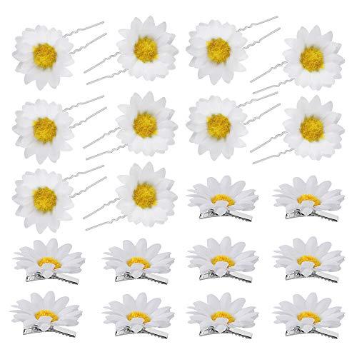 chudian 20 Stück Sonnenblumen Haarschmuck Haarnadeln für Mädchen Sommer Haarspangen mit Gänseblümchen Blumen Haar Accessoire für Brautfrisur Party Hochzeit