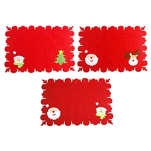 Amosfun - Juego de 3 manteles individuales de Navidad con parches de Papá Noel, posavasos antideslizantes, resistentes al calor, para decoración de mesa de comedor o cocina