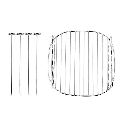 Parrilla BBQ: rejilla universal de acero inoxidable Parrilla BBQ Bandejas de doble capa Bandeja de horno Compatible con freidora de aire Philips