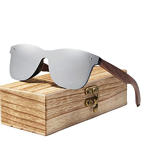 Berrd Gafas de Sol de Moda para Hombre Gafas de Sol polarizadas de Nogal con Espejo UV400 Gafas de Sol Coloridas para Mujer Hechas a Mano