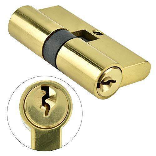 Cilindro de cerradura de puerta con llaves, cobre antirrobo de 60 mm Cilindro de cerradura de puerta abierta doble Sistema de seguridad de puerta de entrada de seguridad para oficina en el hogar