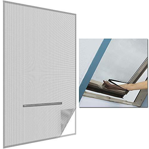 SunDeluxe Fliegengitter für Dachfenster 140x170cm Anthrazit - mit Reißverschluss zum Öffnen - selbstklebend inkl. Klettband/ohne Bohren - individuell kürzbar