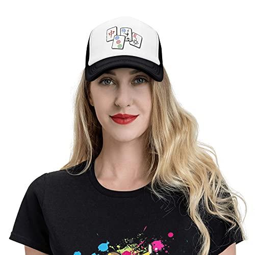 Chinese Mahjong Game Trucker Hat Sports Baseball Cap Casual Unisex Leisure Adjustable Hat Hip-Hop Cap Black