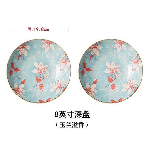LXLN Vajilla de cerámica Blanca Marfil,Plato de cerámica Cubiertos m,Plato Redondo de cerámica para el hogar