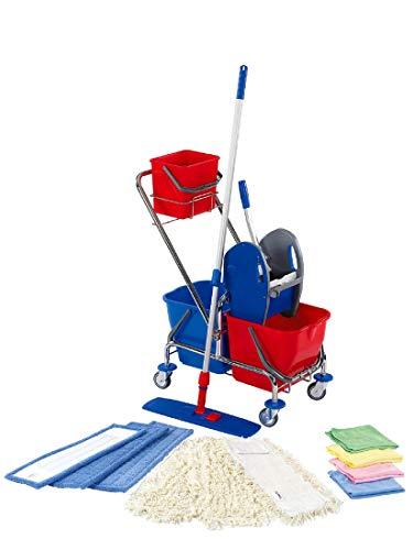 Floorstar Cleaning Kit Doppelfahrwagen chrom 50 cm Reinigungswagen inkl. Presse mit Ablageeimer Komplettset mit Eimerwagen, Klapphalter, Teleskopstiel, Möppen Nasswischwagen klein Putzwagen Mopset