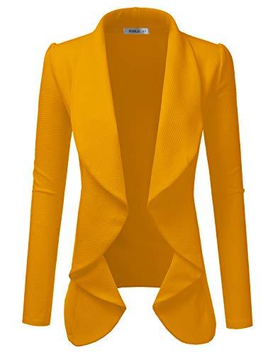 Doublju Klassischer drapierter Blazer vorne offen für Damen mit Übergröße -  Gelb -  X-Large