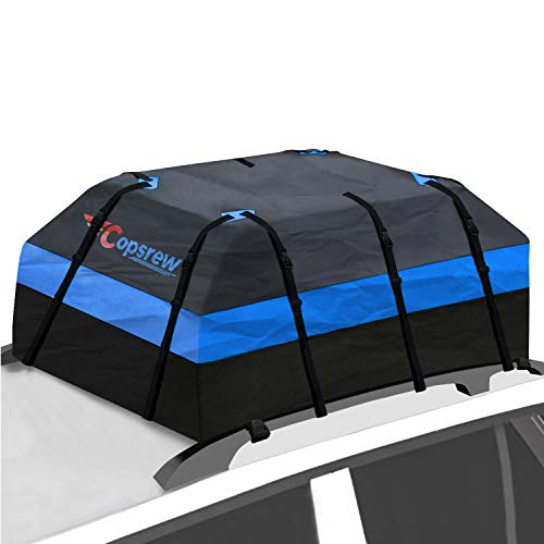 Copsrew Upgrade 20 Cubic ft Car Roof Bag & Rooftop Cargo Carrier 100% Waterproof Heavy Duty RoofBag. Fits All Vehicle with/Without Rack