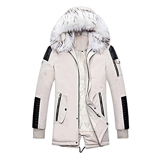 BIKETAFUWY Chaqueta para hombre, chaqueta de invierno, parka, larga, impermeable, con capucha de piel sinttica, transpirable, para exterior, acolchada, Blanco, L