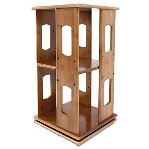 Manyao Rotating Bookshelf Simple Desktop Display Stand Solid Wood Multi-layer Books Sundries Lockers 33x33x60.5cm bookcase
