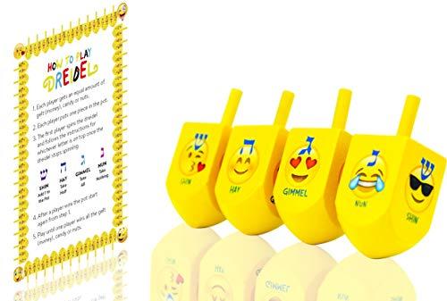 The Dreidel Company Hanukkah Emoji Dreidels! with Hebrew & English Transliteration (4-Pack) - Instructions Included!