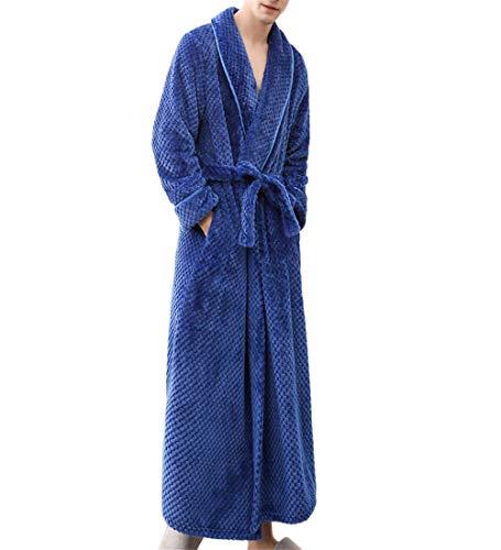 jfhrfged Herren Damen Neutral Winter Bademantel Simple Verlängern Nachthemd mit Gürtel Einfarbig Hause Kleidung Saunamantel (Blau, M)