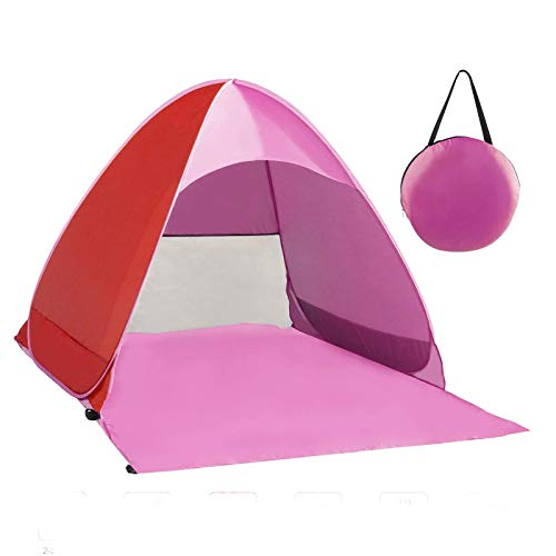 Zenoplige Pop Up Tent, Beach Camping Tent Foldable Outdoor UV Lightweight Waterproof tent as Sun Shelter Children Family and Dog on Garden, Beach (Pink)