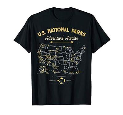National Parks T shirt Map Camping tshirt Women Men Hiking