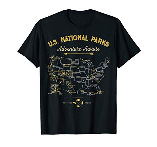 National Parks T shirt Map Camping tshirt Women Men Hiking T-Shirt