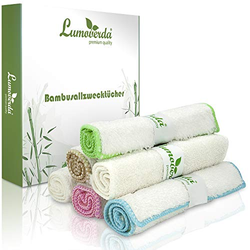100% Zero waste: Premium Bambus Tücher - waschbare Spültücher, nachhaltige Putzlappen für Küche/Spiegel/Bad, saugstarke Putztücher, 6x Abwaschlappen ohne Mikrofaser