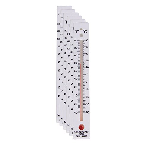 hand2mind Low-Range, Dual-Scale, Mercury-Free, Safety Thermometers for Indoor Science Use (Pack of 6)