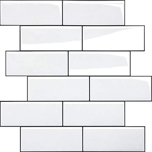 HyFanStr 10 Blatt Fliesenaufkleber Küche, Selbstklebende 3d Fliesensticker Bad Fliesendekor, Wasserdicht Wandaufkleber 30.5x30.5cm