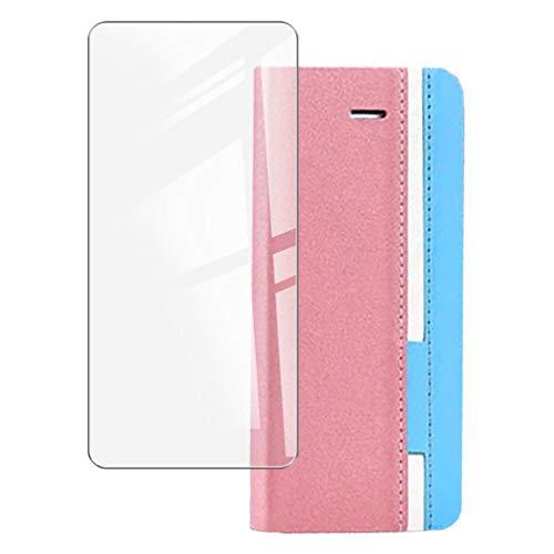ZXLZKQ Funda para Oukitel F150 B2021 (5.86'), Silicona Case + Cristal Templado 9H Dureza Protector de Pantalla HD, Soporte Plegable PU Cuero Flip Cover Carcasa Ranuras Caso - Pink