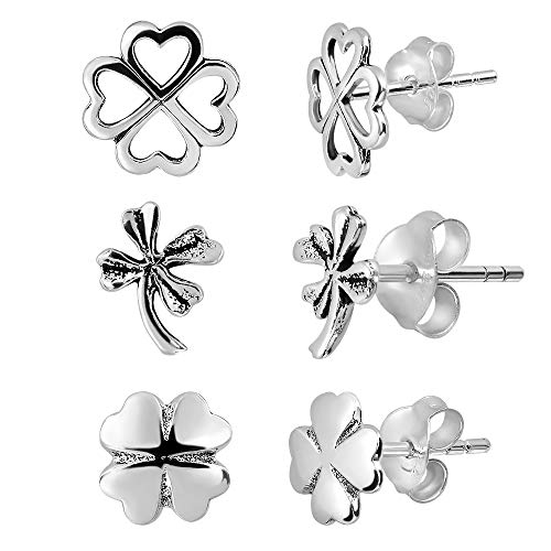 Adeley 3 Pairs Sterling Silver Clover Earrings Set, Celtic Earrings, Sterling Silver Shamrock Earrings Studs, Four Leaf Clover Earrings For Women, Good Luck Clover, St. Patrick's Day Gift