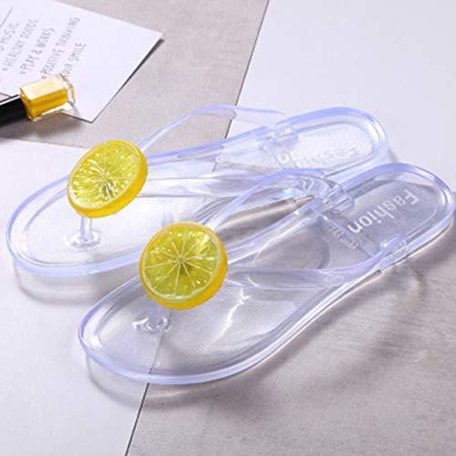 QIMITE Plantar Fasciitis Stile Frauen Jelly Flip Flops 36-41 Größe Strand flach Hausschuhe Mode Obst transparente Tier kreative Schuhe, 38