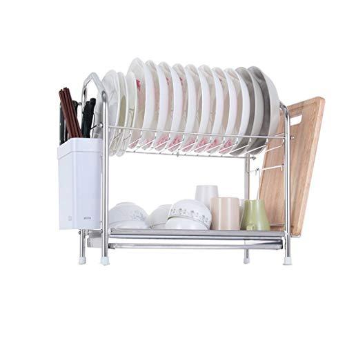 WXJLYZRCXK Kitchen Storage Organiser Stainless Steel Bowl Shelf Two or Three Layers Kitchen Shelf Drain Rack Filter Water Bowl Shelf Supplies Chopsticks Frame Multi-Purpose,48.5 * 25 * 46Cm