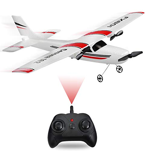MSLAN 2.4GHz 2 Channels RTF RC Airplane, RC Aircraft with 3-Axis Gyro for Beginner Easy to Fly Glider Toys with 2 Extra Batteries(3 Batteries)
