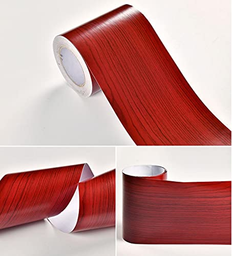 Vinilo autoadhesivo de madera de caoba con textura de grano de PVC para pared de azulejos de cocina y baño adhesivo de esquina de sala de estar (15 x 1000 cm)