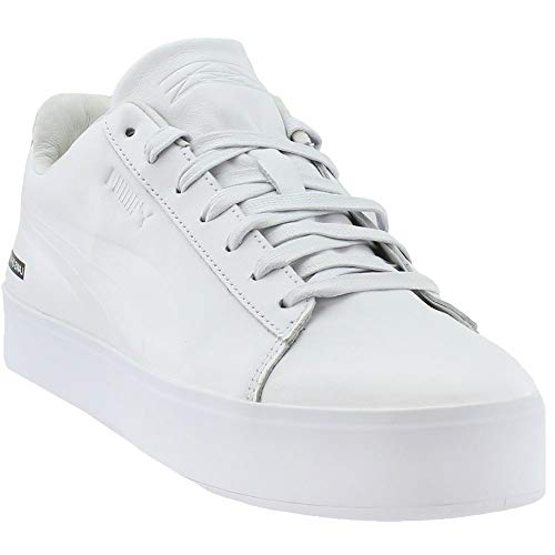 PUMA Mens Black Scale Court Platform Casual Sneakers, White, 9.5