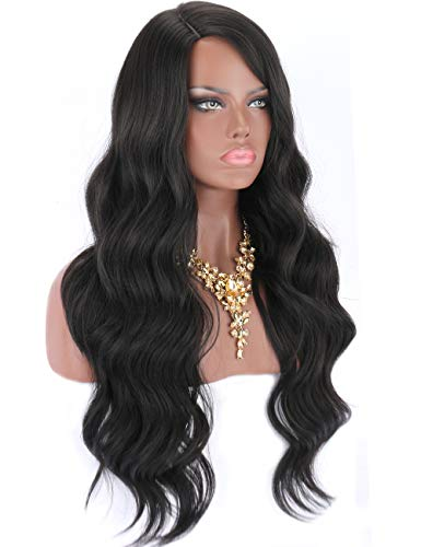 Kalyss 26 Inches Black Synthetic Hair Wigs for Women Right Side Parted Natural Looking Long Body Wavy Curly Wigs Heat Resistant Replacement Wigs