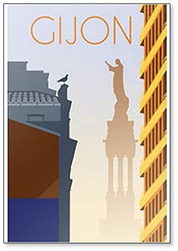 Gijon City Asturias España Retro imán para nevera