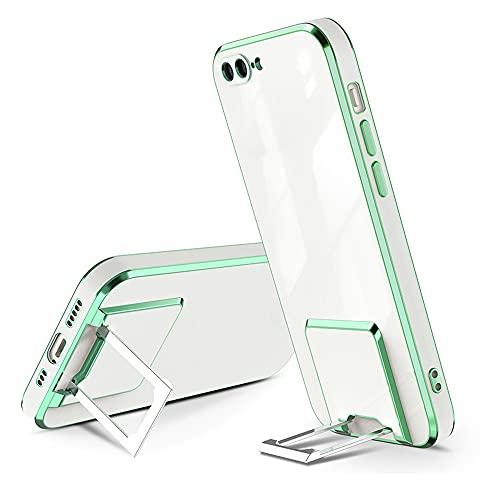 QC-EMART - Funda para iPhone 7 Plus/iPhone 8 Plus, soporte de metal de silicona a prueba de golpes, transparente, protección trasera para iPhone 7 Plus/8 Plus, color verde cobre