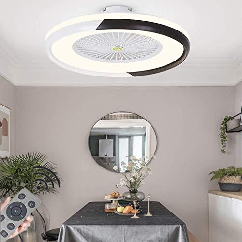 LED Deckenventilator Mit Beleuchtung Kreative Moderne Dimmbar Fan Deckenleuchte Mit Fernbedienung Leise Kinderzimmer Schlafzimmer Wohnzimmer Beleuchtun,Schwarz Ø60CM,Schwarz